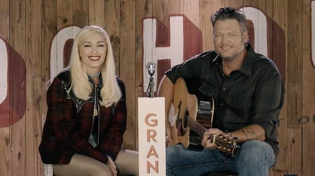 Blake Shelton and Gwen Stefani appear remotely from Ole Red Tishomingo on Saturday night's Grand Ole Orpy broadcast. [Chris Hollo/Grand Ole Opry]