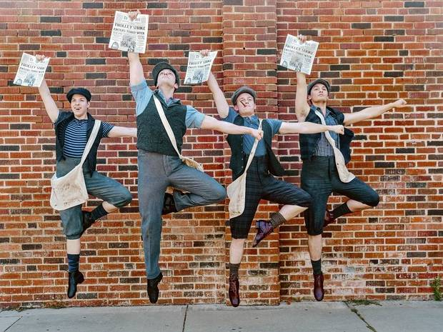 "From left, Jonathan Flores, Sean Watkinson, Jake Young and Phillip Giandiletti appear in Lyric Theatre's Summer at the Civic production of Disney's ""Newsies."" [Photo by K. Talley Photography]"