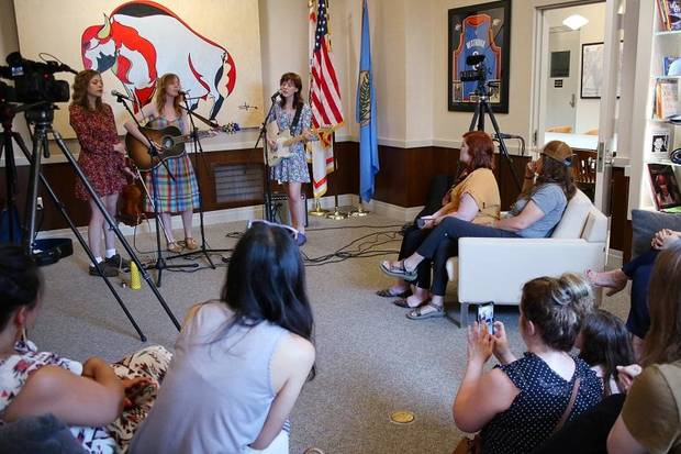"The first ""City Hall Session,"" a live music, mini-concert in Mayor David Holt's office, opened with Annie Oakley Monday, May 28, 2019. The band is, from left, Nia Personette, Sophia Babb and Jo Babb. [Doug Hoke/The Oklahoman Archives]"