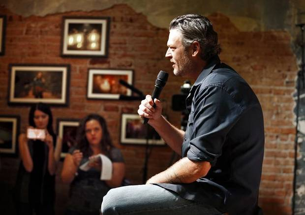 Entertainer Blake Shelton fields questions seated on the stage of his Ole Red restaurant/bar on Friday, Sept. 29, 2017 in Tishomingo, Okla. [The Oklahoman Archives]