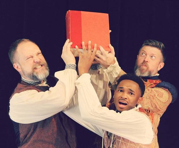 "From left, Tyler Woods, Darius Freeman and Chris Rodgers star in Oklahoma Shakespeare's state premiere production of Lauren Gunderson's ""The Book of Will."" [Photo by April Porterfield]"