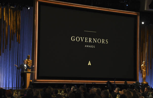 Wes Studi accepts an honorary Oscar at the Governors Awards on Sunday, Oct. 27, 2019, at the Dolby Ballroom in Los Angeles. [Photo by Chris Pizzello/Invision/AP]