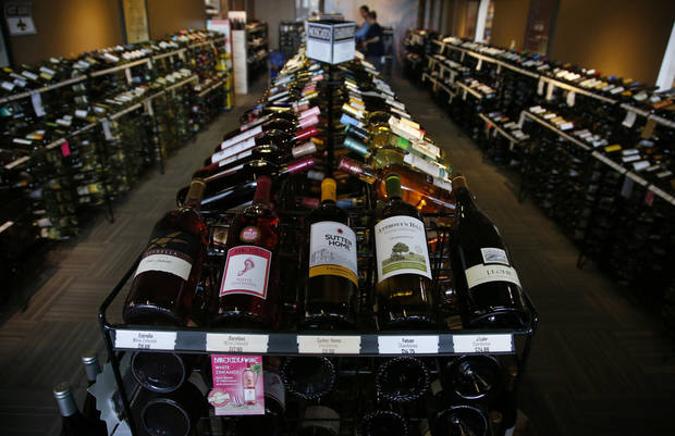 CORRECTS NAME OF LIQUOR STORE The wine room at Moore Liquor is pictured in Moore, Okla., Thursday, Oct. 20, 2016. Changes to Oklahoma liquor laws are among the ballot measures facing voters this election. (AP Photo/Sue Ogrocki)