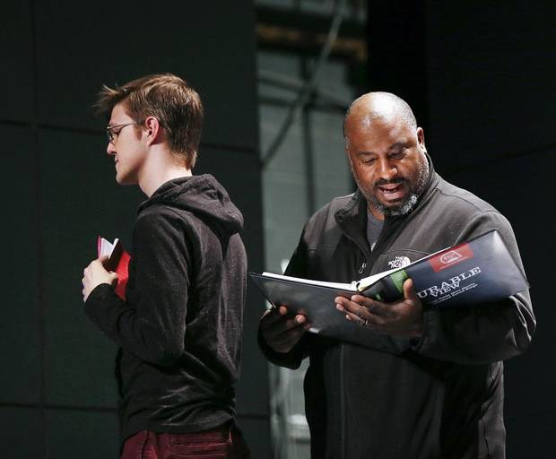 "Director W. Jerome Stevenson, right, speaks next to Cameron Law, who plays Christopher Boone, during rehearsals for CityRep's production of the Tony-winning play ""The Curious Incident of the Dog in the Night-Time"" in the Freede Little Theatre at the Civic Center Music Hall in Oklahoma City, Thursday, March 14, 2019. Photo by Nate Billings, The Oklahoman"