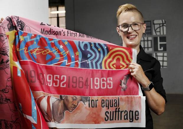 "Oklahoma City artist Marilyn Artus planned to travel to all 36 states that ratified the 19th Amendment to the U.S. Constitution with a goal of completing the project ""Her Flag."" The collaborative art project will have 36 stripes, each designed by a female artist from each of those states. Despite the coronavirus outbreak, Artus hopes to finish the flag by August, the 100th anniversary of the amendment's ratification. She is photographed at Artspace in Deep Deuce on Tuesday, July 2, 2019. [The Oklahoman Archives]"