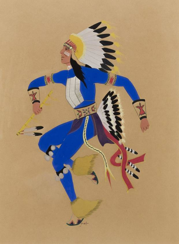 "Spencer Asah's (Lallo) (U.S., Kiowa, 1906-1954) ""Kiowa Dancer"" is included in the exhibition ""Kiowa Agency: Stories of the Six,"" on view at the Fred Jones Jr. Museum of Art at the University of Oklahoma. [Image provided]"