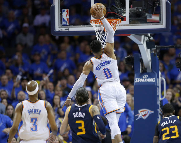Russell Westbrook Dunks In Game 1 Of The Thunders Playoff Series Against Utah Photo