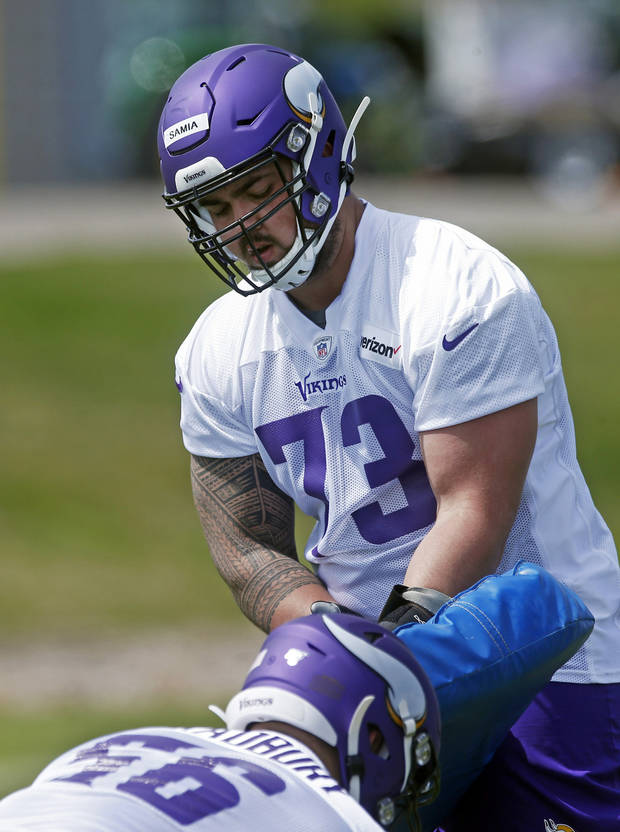 Minnesota Vikings rookie guard Dru Samia takes part in a drill during rookie minicamp workouts at the NFL football team's complex Friday, May 3, 2019, in Eagan, Minn. (AP Photo/Jim Mone)