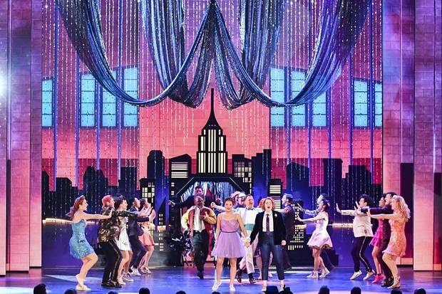 "The cast of ""The Prom"" performs at the 73rd annual Tony Awards at Radio City Music Hall on Sunday, June 9, 2019, in New York. [Photo by Charles Sykes/Invision/AP]"