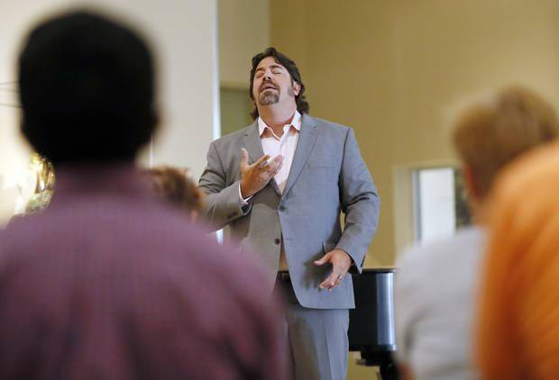 "Tenor Joel Burcham sings during a performance by Painted Sky Opera at the Oklahoma City Museum of Art in Oklahoma City, Wednesday, July 26, 2017. Burcham is again working with Painted Sky Opera, playing the obsessive soldier Don Jose in the company's production of ""The Tragedy of Carmen,"" with performances May 17 and 19 at the Civic Center's Freede Little Theatre. [Nate Billings/The Oklahoman Archives]"