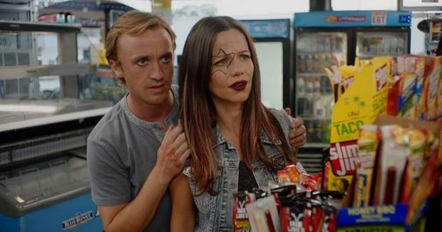 "Tammin Sursok and Tom Felton star in ""Braking for Whales,"" released April 24. [Gravitas Ventures photo]"