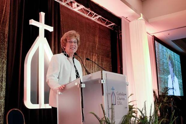 Sister Donna Markham, Ph.D., president and chief executive officer of Catholic Charities USA, talks during the organization's 2015 national gathering in Omaha, Neb. [Photo provided by Catholic Charities]