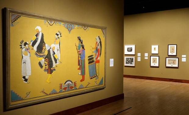 "Pueblo painter Tonita Pena's (Quah ah) oil on canvas ""Eagle Dance"" is featured in the Oklahoma City Museum of Art show ""Renewing the American Spirit: the Art of the Great Depression"" Wednesday, October 30, 2019. [Doug Hoke/The Oklahoman]"