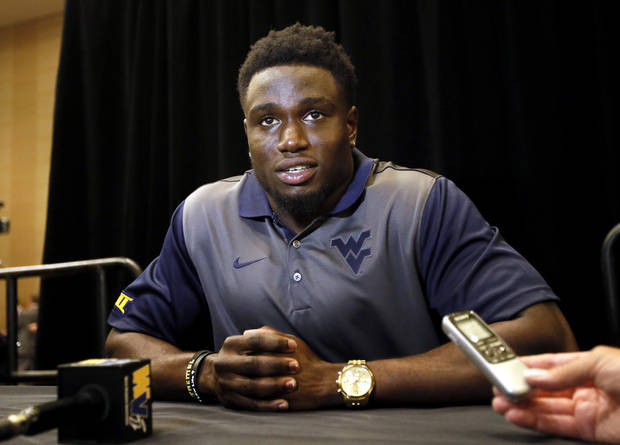 West Virginia safety Karl Joseph talks to reporters during Big 12 Conference Football Media Days, Monday, July 20, 2015, in Dallas. (AP Photo/Tony Gutierrez)
