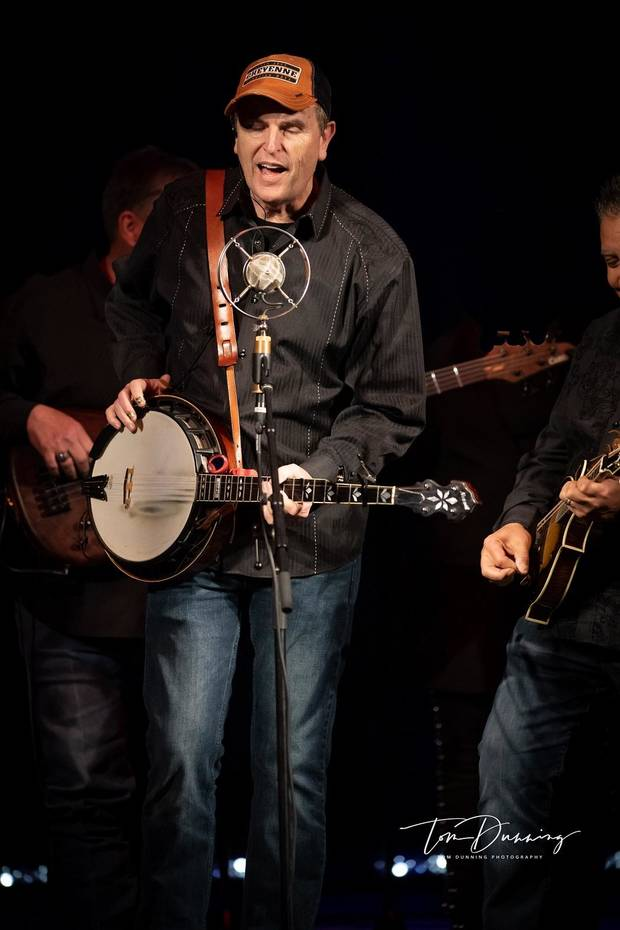 Jim Paul Blair plays at a 2019 benefit concert for Byron Berline at the Tower Theatre. [Tom Dunning photo]
