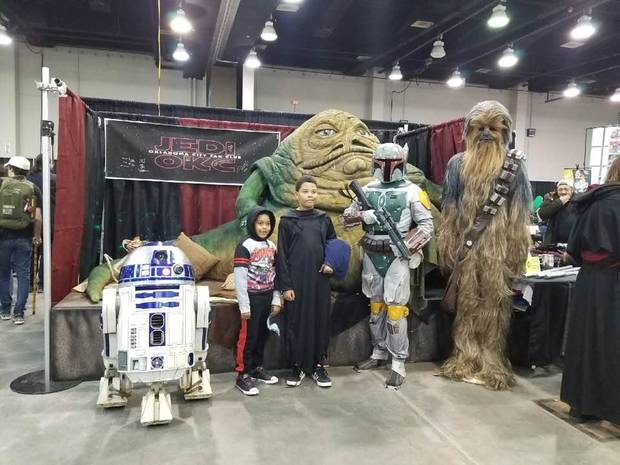 Fans pose with Star Wars characters played by Jedi OKC members at the Wizard World Comic Con Oklahoma City on Oct. 28, 2017. Photo by Annette Price