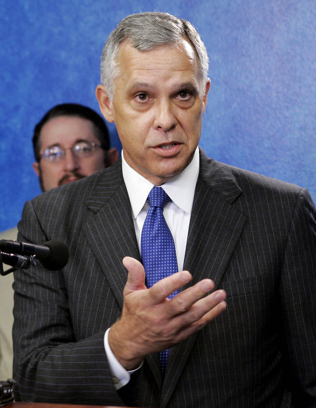 FILE - In this Aug. 24, 2006 file photo, Kirk Humphreys, the former mayor of Oklahoma City, speaks at a news conference in Oklahoma City. Humphreys, a member of the University of Oklahoma Board of Regents, is being criticized Monday, Dec. 11, 2017, for comparing gay people to pedophiles and politicians who have resigned recently after allegations of sexual misconduct. Humphreys made the comments over the weekend on a television public affairs show. The LGBTQ advocacy group Freedom Oklahoma has called for his removal from the board if he does not apologize. (AP Photo/File)