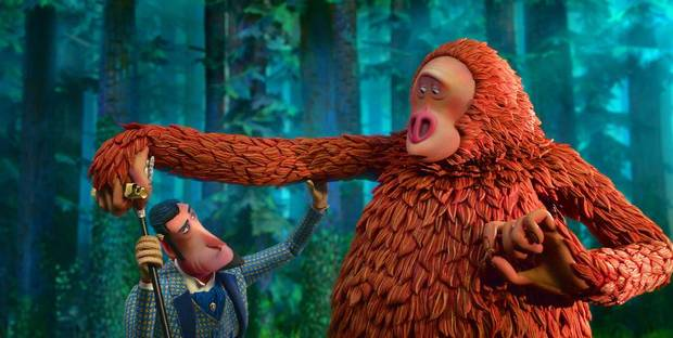 "Hugh Jackman provides the voice of adventurer Sir Lionel Frost voiced and Zach Galifianakis voices a literate Sasquatch who favors the name Susan in writer/director Chris Butler's stop-motion animated ""Missing Link."" [Laika Studios / Annapurna Pictures photo]"