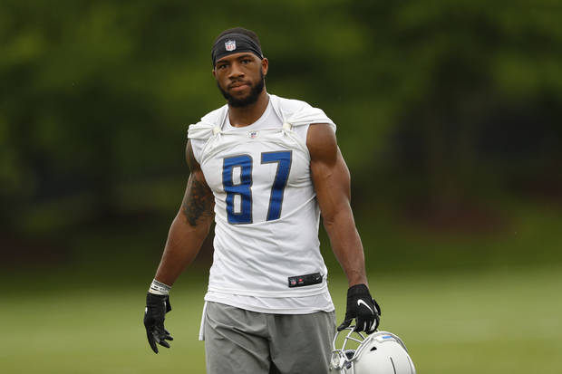 Detroit Lions wide receiver Jordan Smallwood watches during an NFL football practice in Allen Park, Mich., Thursday, May 30, 2019. (AP Photo/Paul Sancya)