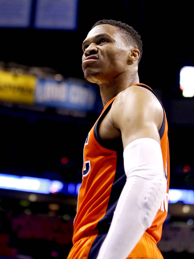 Oklahoma City's Russell Westbrook (0) reacts after a dunk during the NBA basketball game between the Oklahoma City Thunder and the New Orleans Pelicans at the Chesapeake Energy Arena, Saturday, Feb. 25, 2017.  Photo by Sarah Phipps, The Oklahoman