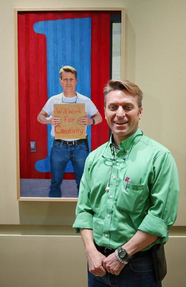 "Richard McKown stands in front of his portrait by Georgia-based Oklahoma native Mike Wimmer at the Oklahoma History Center, Thursday, March 21, 2019. An exhibit of Wimmer's portraits of Oklahomans titled ""Will Work For ..."" is on view through June 29 at the history Center. [Photo by Doug Hoke/The Oklahoman]"