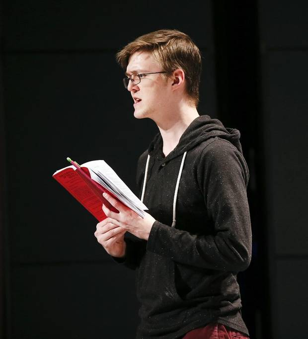 "Cameron Law portrays Christopher Boone during rehearsals for CityRep's production of the Tony-winning play ""The Curious Incident of the Dog in the Night-Time"" in the Freede Little Theatre at the Civic Center Music Hall in Oklahoma City, Thursday, March 14, 2019. Photo by Nate Billings, The Oklahoman"