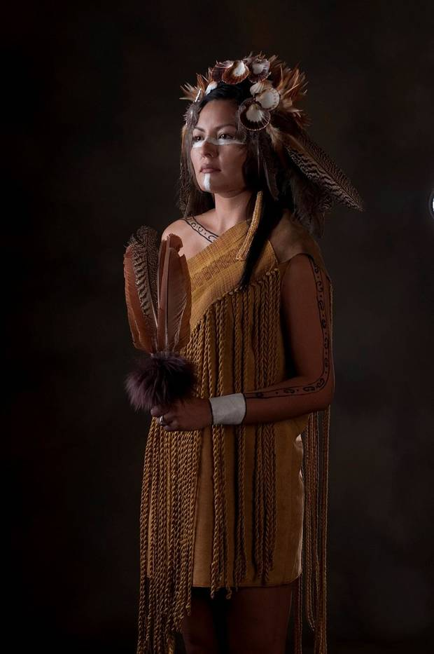 "Actor Nola Monetathchi will appear in traditional Chickasaw regalia created by award-winning Chickasaw textile artist Margaret Roach Wheeler when the Oklahoma City Philharmonic performs Chickasaw classical composer Jerod Impichchaachaaha' Tate's ""Lowak Shoppala' (Fire and Light), Scene 4: Clans"" Feb. 16 at the Civic Center. [Photo provided]"