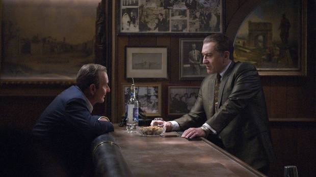"Joe Pesci, left, and Robert De Niro star in ""The Irishman."" [Netflix]"