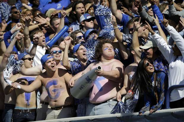 Memphis fans celebrate during a victory over Ole Miss last week. (AP Photo)