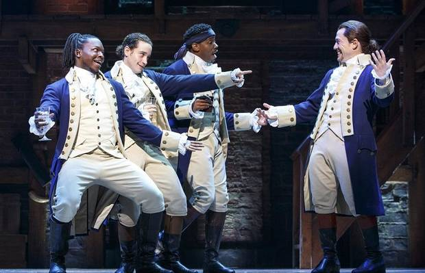 "From left, Chris De'Sean Lee, Jose Ramos, Wallace Smith and Miguel Cervantes perform with the Chicago company of ""Hamilton."" [Photo by Joan Marcus]"