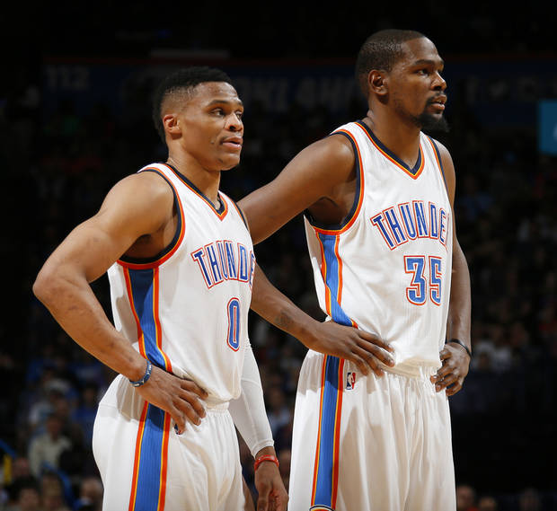 Oklahoma City's Russell Westbrook (0) and Kevin Durant (35) during an NBA basketball game between the Oklahoma City Thunder and the Houston Rockets at Chesapeake Energy Arena in Oklahoma City, Friday, Jan. 29, 2016. Oklahoma City won 116-108. Photo by Bryan Terry, The Oklahoman