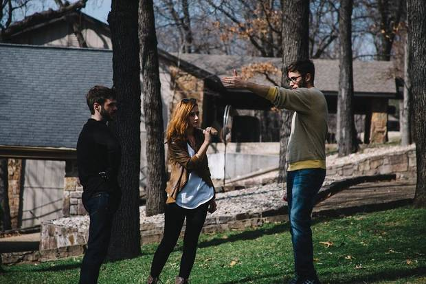 "Alex Greenlee, right, directs Jasper Hammer and Danielle Ploeger in a scene of the horror-mystery ""Home With A View of The Monster,"" which was filmed in Oklahoma. [Photo provided]"