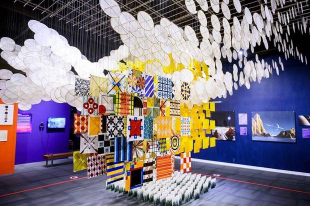 "Jacob Hashimoto's ""The Other Sun"" is the centerpiece of Science Museum Oklahoma's ""Cosmic Culture: Intersections of Art and Outer Space,"" now open in the museum's smART Space galleries. [PHOTO PROVIDED]"