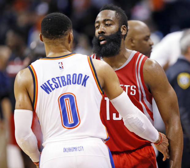 "James Harden said ""everybody"" is watching Russell Westbrook this season. Photo by Nate Billings, The Oklahoman"