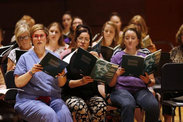 "Canterbury Voices singers rehearse for their Oct. 13 performance of Duke Ellington's ""Sacred Concert"" Monday, September 30, 2019. [Doug Hoke/The Oklahoman]"