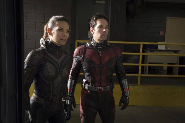 "Evangeline Lilly, left, and Paul Rudd appear in a scene from ""Ant-Man and the Wasp."" Disney/Marvel Studios photo"