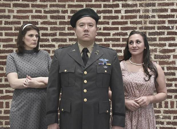 "Andre Chiang, Saira Frank, and Mary McDowell star as Col. Jim Thompson and the older and younger versions of his wife Alyce in Painted Sky Opera's production of ""Glory Denied"" on Jan 31, Feb 2, and Feb 7 at the Civic Center. [Mutz Photography]"