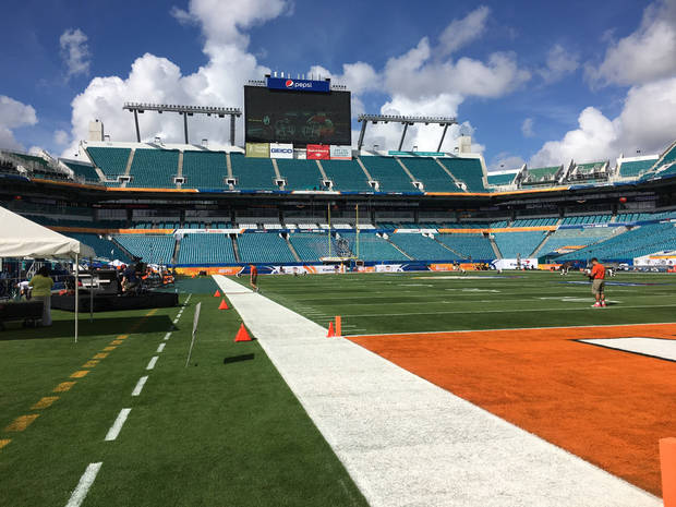 Sun Life Stadium in Miami, where Oklahoma will face Clemson in a 3 pm kickoff on New Year's Eve, 2015.