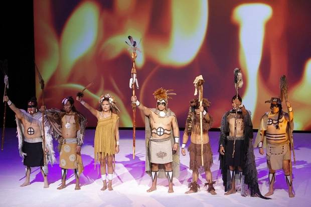 "A performance of Chickasaw classical composer Jerod Impichchaachaaha' Tate's orchestral suite ""Lowak Shoppala' (Fire and Light),"" featuring libretto written by Chickasaw Pulitzer Prize finalist Linda Hogan and regalia designed by award-winning Chickasaw textile artist Margaret Roach Wheeler, was performed at the closing ceremony of the Creativity World Forum at the Cox Convention Center in downtown Oklahoma City Wednesday, Nov. 17, 2010. [Photo by Doug Hoke/The Oklahoman Archives]"