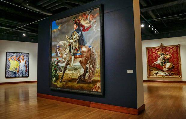 "The painting ""Equestrian Portrait of King Philip II"" (Michael Jackson) by artist Kehinde Wiley is on view in the exhibit ""Kehinde Wiley: A New Republic"" at the Oklahoma City Museum of Art in Oklahoma City. Photo by Chris Landsberger, The Oklahoman"