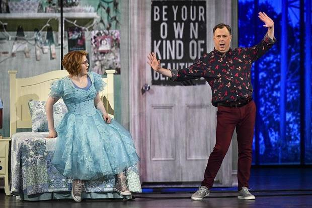 "Caitlin Kinnunen, left, and Brooks Ashmanskas, of the cast of The Prom,"" perform at the 73rd annual Tony Awards at Radio City Music Hall on Sunday, June 9, 2019, in New York. [Photo by Charles Sykes/Invision/AP]"