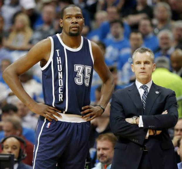 Oklahoma City's Kevin Durant (35) stands beside coach Billy Donovan during Game 3 of the first round series between the Oklahoma City Thunder and the Dallas Mavericks in the NBA playoffs at American Airlines Center in Dallas, Thursday, April 21, 2016. The Thunder won 131-102. Photo by Bryan Terry, The Oklahoman