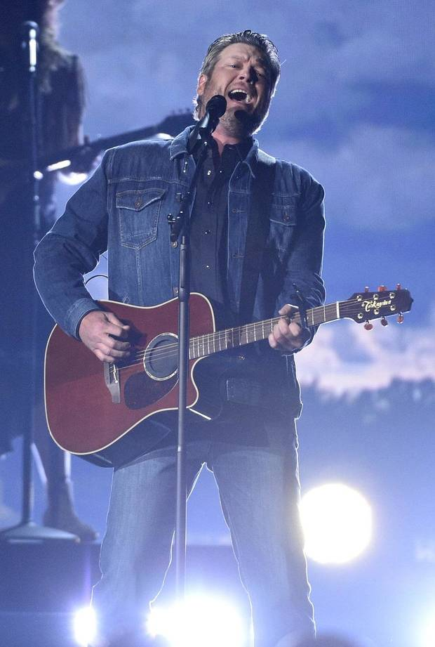 "Blake Shelton performs ""God's Country"" at the 54th annual Academy of Country Music Awards at the MGM Grand Garden Arena on Sunday, April 7, 2019, in Las Vegas. [Photo by Chris Pizzello/Invision/AP]"