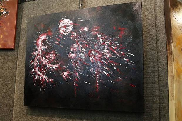 Artwork by Clancy Gray are on display at the 2019 Red Earth Festival at the Cox Convention Center in Oklahoma City, Oklahoma Friday, June 7, 2019. [Paxson Haws/The Oklahoman]