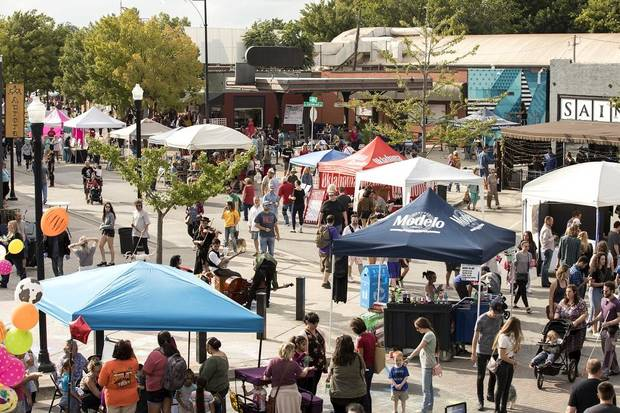 People gather for the annual Plaza District Festival. [Nathan Poppe photo]
