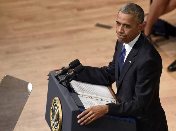 President Barack Obama speaks at an interfaith memorial service for the fallen Dallas police officers and members of the Dallas community. (AP Photo/Susan Walsh)