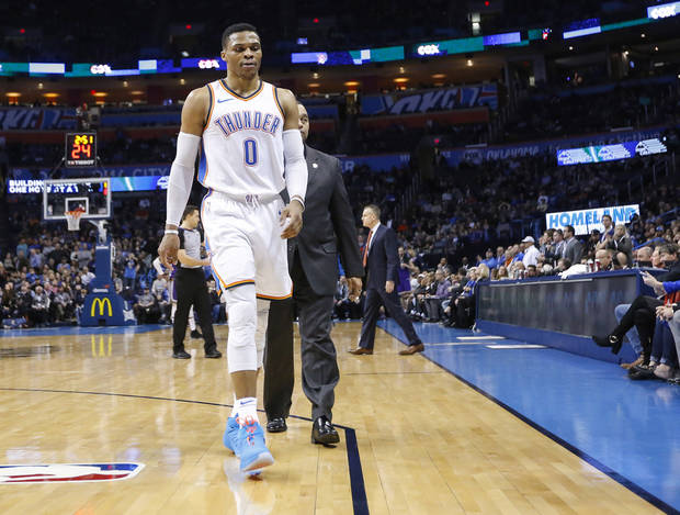 Russell Westbrook was ejected late in the fourth quarter of Monday's game. [PHOTO BY NATE BILLINGS, THE OKLAHOMAN]