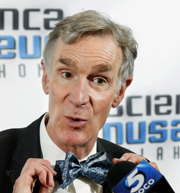 In response to a person's question about his personal bow tie collection, Bill Nye, the Science Guy showed off one of his newest ties and announce that his collection exceeds 500 bow ties. The well-known science advocate and television personality visits Science Museum Oklahoma Wednesday to kick off the museum's campaign to transform the old OmniDome Theatre into a top-notch planetarium. [Jim Beckel/The Oklahoman]