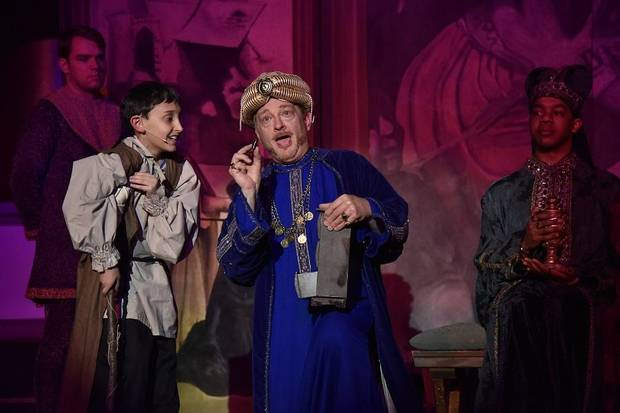 "Austin Rindler and Mark Johnson star as Amahl and King Kaspar, respectively, in Painted Sky Opera's ""Amahl and the Night Visitors."" [Wendy Mutz photo]"