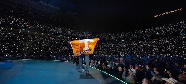 "Newly named seven-time Country Music Association Entertainer of The Year and Oklahoma native Garth Brooks brought the house down with his 10th ""The Garth Brooks Stadium Tour"" stop with a record-breaking concert over the weekend at Knoxville, Tennessee's Neyland Stadium. [Photo by 8 Ten, Inc.]"